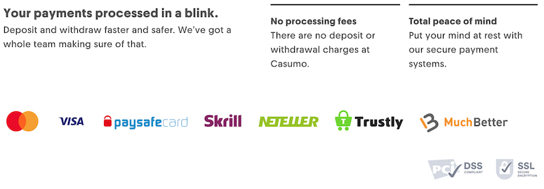 Payment Options Supported by Casumo